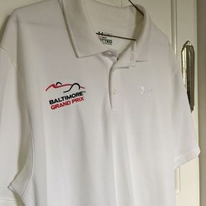 Under Armour Heat Gear White Polo Shirt Grand Prix